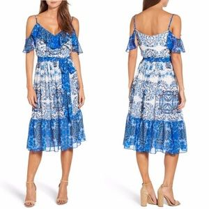 Eliza J Floral Blue White Cold Shoulder Dress 14